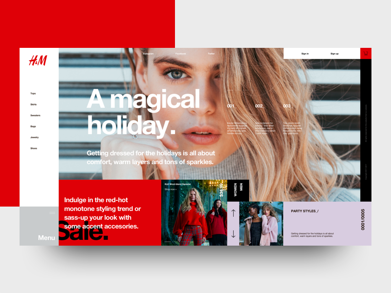 H&M (Concept) mondrianizm ui e-commerce flat fashion interface clean layout web design minimal concept landing