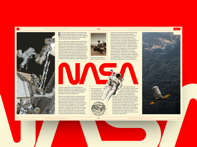 Nasa (concept) astronaut spaceship layout typography vintage website landing editorial space nasa ux ui