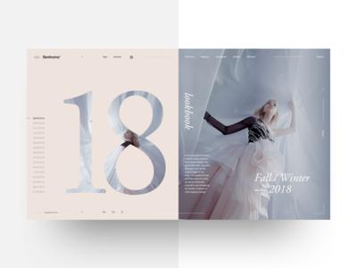 Senhoma© typography landing ui concept minimal interface dress delicate layout lookbook fashion ecommerce
