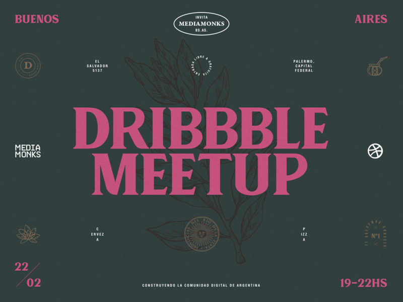 Dribbble Meetup - Buenos Aires (Playoff) hand drawn vintage badges pink dribbble symmetric typography layout argentina buenosaires meetup