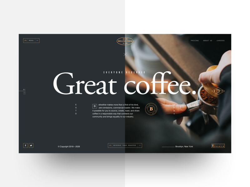 Bellwether Coffee - Landing concept website vintage badge coffee shop garamond landing page web design template concept interface clean landing ui typography layout