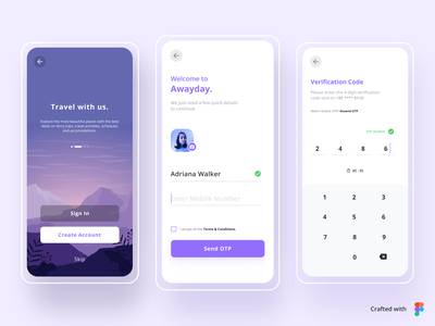 Awayday - Travel App | Daily UI Challenge 001 (Sign up flow) minimal design typography flat ui app ux figmadesign