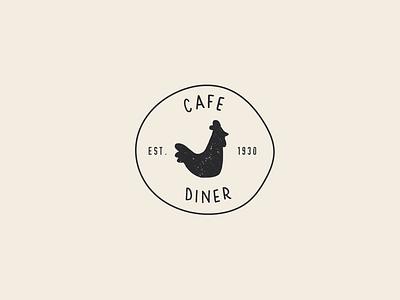 Cafe & Diner Logo chicken illustration illustration illustrated logo hand drawn rooster chicken farm to table restaurant food cafe logo diner logo diner cafe logos branding logo design branding logo design logo