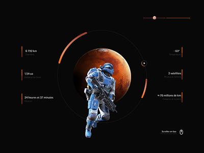 Characteristics of Martian Planet darkmode planet characteristics webdocumentaire dailyui ux ui illustration colors design
