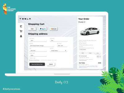 Payment method #dailycacatoes clear @design @ui design ui dailyui tesla payment challenge cacatoesdaily thecacatoestheory desktop
