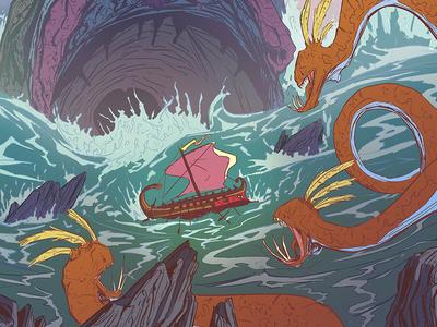 Scylla & Charybdis sea monsters dragons rocks waves ships charybdis scylla mythology greek odysseus odyssey
