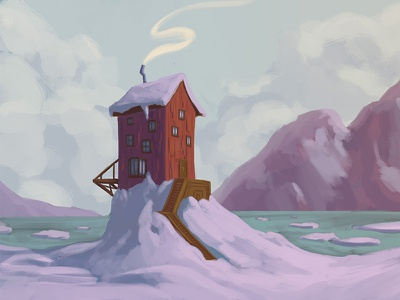 In the Snow, By the Sea snow sea mountains illustration house