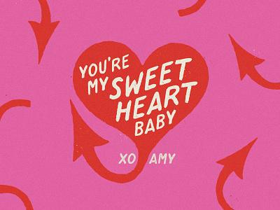 VDay sweet devil valentines love heart type illustration
