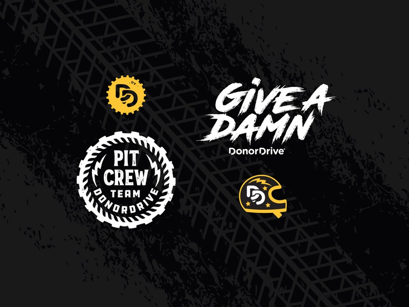 Drive Change race pit crew team tradeshow helmet tire track tire car gear illustration logo grunge drive
