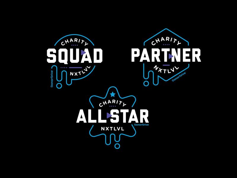 NXTLVL logos drip blob allstar partner squad game streaming play branding logo illustration type