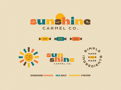 Sunshine Carmel Co. smile happy logo branding sunshine sun 1970s typography type retro logos branding design carmel candy candy shop