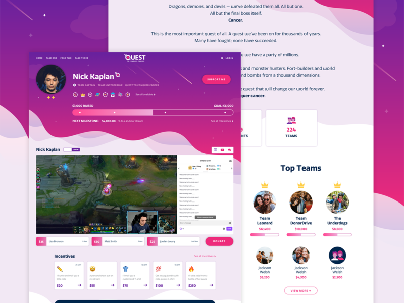 Quest ✨ streaming virtual twitch stars space quest gaming logo gaming donation web banner banner non profit donate fundraising web