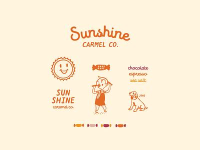 Sunshine Carmel Co. vintage retro kids flavor dog sun carmel candy logo illustration type