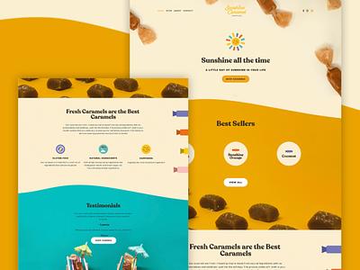 Sunshine Carmel Co. Website testimonials chocolate sun sunshine ingredients flavor product website carmel candy web banner ux ui illustration web
