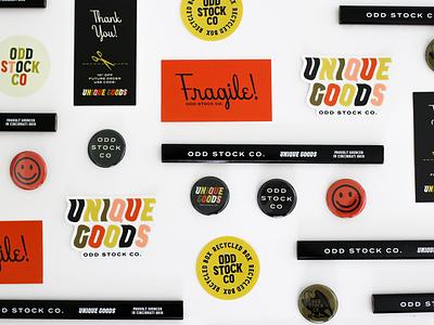 Odd Stock Co coupon vintage logo retro fragile button pin stickers merch branding illustration