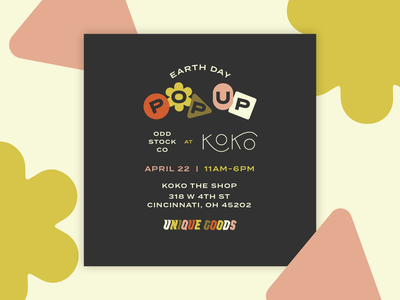 Popup Social Graphic typography shapes 70s retro social media event popup type illustration
