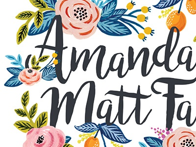 Wedding Card typography card stationery flowers print type wedding floral