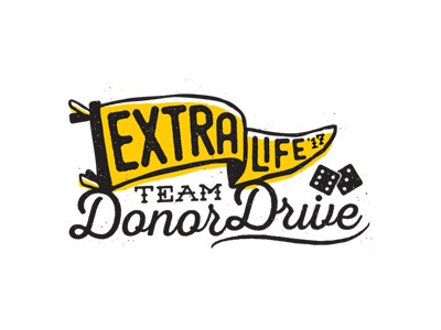 DonorDrive + Extra Life logo team game dice donor fundraise fundraising pennant illustration