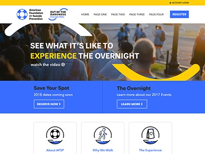 The Overnight register suicide web design fundraising web banner icons web event donate