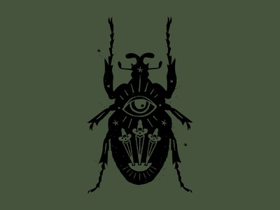 Beetle witchcraft tarot sword insect bug beetle illustration