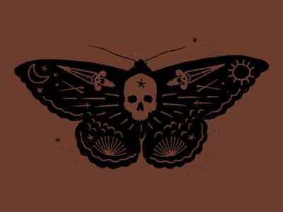 Moth illustration sword skull tarot insect bugs moth