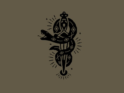 Snake sword witchcraft tarot snake illustration