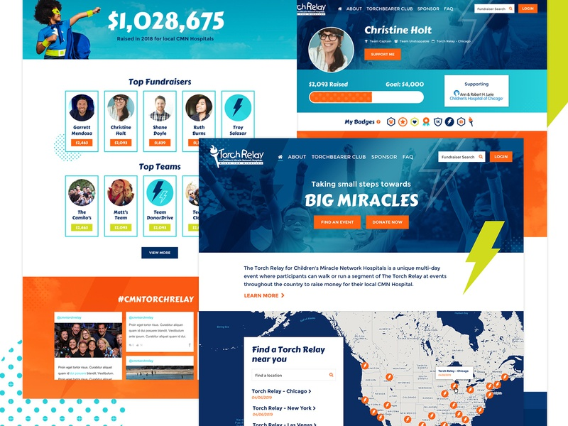 Torch Relay map ui maps relay web banner event banner non profit donate fundraising illustration web