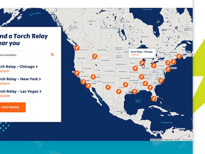 Torch Relay Map locations search google map maps donation event non profit donate fundraising web ui