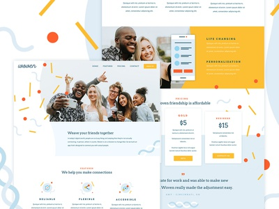 Woven icons pricing app website one page product ux ui web banner illustration web