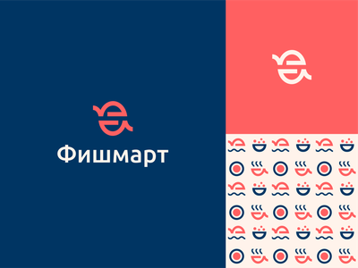 Fishmart sushi food pattern logo logo design branding seafood cafe restaurant fish bistro