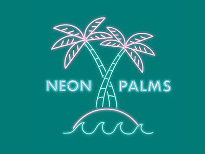 Neon Palms neon sign waves logo branding palmtree palm sign neon vector illustration hand drawn