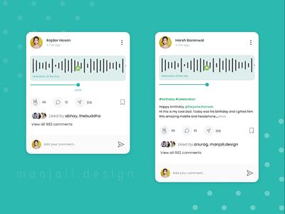 Audio Post UI Design For Social Media App uiux audio posts ui design ux ui app design