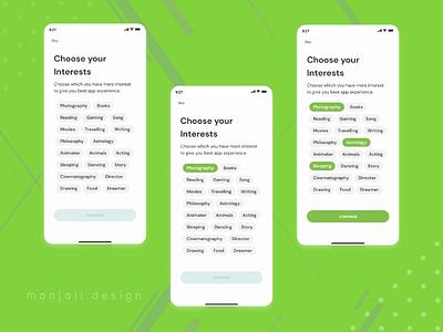 Choose Intrest Page UI Design for Social Media App daily uiux daily ux android app ui ux design ui design