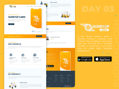 Cab Service App Landing Page | Hurryup Cabs Service App | #003 travel traveling app cabs uiux uidesigns app ui design app logo ui ux