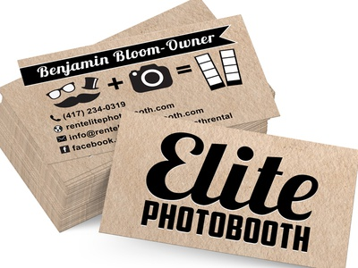 Photo booth business cards arts arts elite photobooth by justin gloe dribbble professional black out photo booth business card reheart Image collections