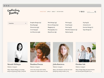 Creative Lady Directory women designers feminism women branding marketing graphic design hand-letter logo identity design