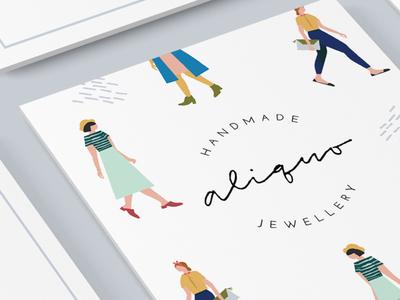 Aliquo Cards logo illustration identity branding jewelry design