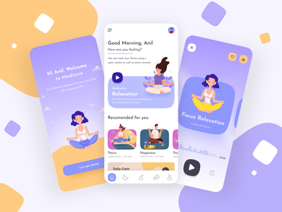 Meditation app ui design branding app design graphic design health illustration creative design app ui anil patel fitness wellness yoga meditation