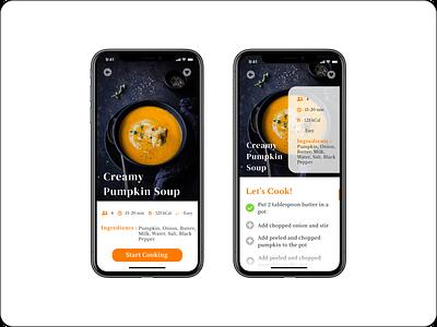 Simple food recipe application typography minimal icon illustration ux ui design app