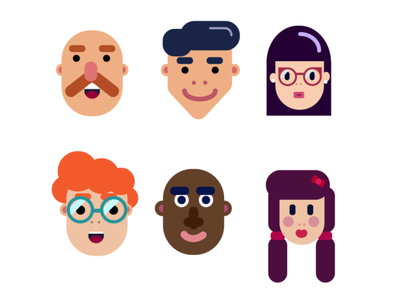 Faces illustrator ux ui animation icon flat minimal vector illustration design