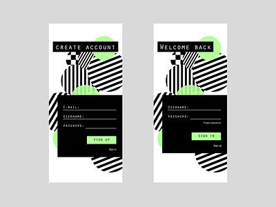Sign in/ Sign up Mobile flat illustrator illustration graphic design art app ux ui minimal design