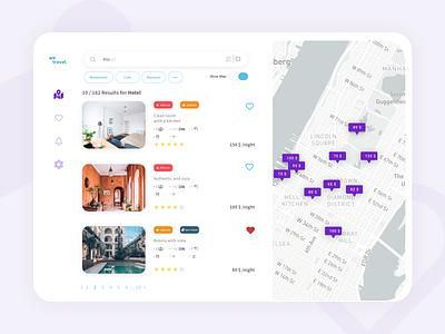 Wetravel Search Results app illustration website typography ux ui design