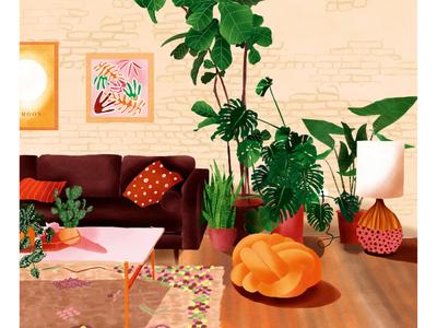 Interior Illustration - Bohohome of a plantlover