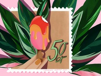 Ice cream Stamp Illustration design plants icecream ice cream post stamp stamp illustration freelance illustrator illustration art illustrator packagingdesign botanicalart adobefresco digital illustration