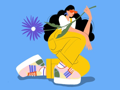 Recent DTIYS  Woman with flower and super cool shoes sneakerhead sneaker illustration sneaker woman illustration freelance illustrator vector illustration flower woman illustration art fashion illustration branding botanical illustration illustrator botanicalart editorial illustration illustration packagingdesign digital illustration