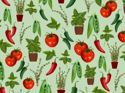 Herbs & Vegetable Pattern food illustration tomato recipe food and drink patterndesign pattern food food illustrator plant illustration botanical illustration illustrator freelance illustrator editorial illustration botanicalart packagingdesign illustration digital illustration