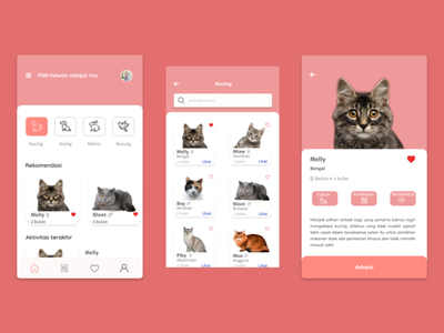 Pets Adoption App mobile app adoption charity animals menu ui user interface app ui design