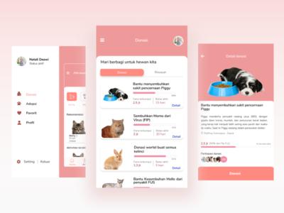 Charity Menu Pet Adoption App pink design ui clean payment mobile card app design application animal charity