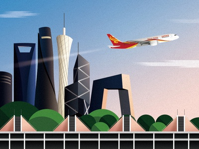 Take off building plane airport airline illustration