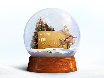 Merry Christmas snow illustration crystal ball card airline ball christmas